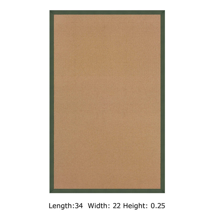 "HomeRoots 0.25"" x 22"" x 34"" Wool and Latex Brown and Green Wool Rug"
