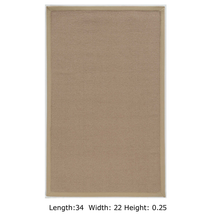 "HomeRoots 0.25"" x 22"" x 34"" Wool and Latex Beige Wool Rug"