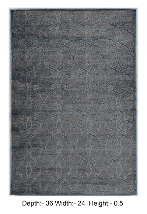 "HomeRoots 0.5"" x 24"" x 36"" Polyester and Latex Blue Polyester Rug"