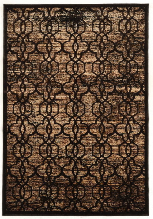 "HomeRoots 0.5"" x 24"" x 36"" Polyester and Latex Brown Polyester Rug"
