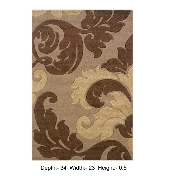 "HomeRoots 0.5"" x 23"" x 34"" Yarn and Latex Tan Frieze Yarn Rug"