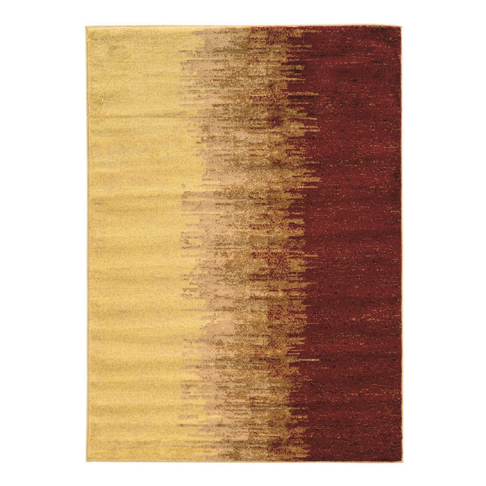 "HomeRoots 0.25"" x 24"" x 36"" Polypropylene and latex Red and cream Power Loom Polypropylene Rug"