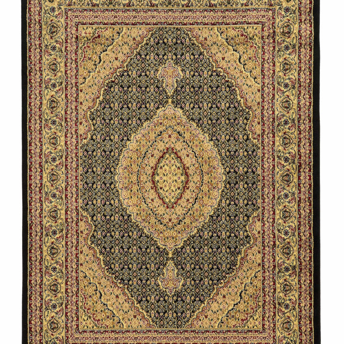 "HomeRoots 0.25"" x 24"" x 36"" Polypropylene and latex Black and beige Polypropylene Rug"
