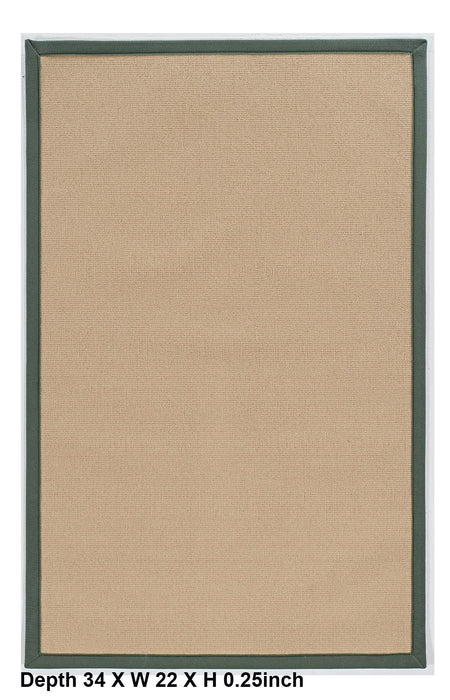 "HomeRoots 0.25"" x 22"" x 34"" Wool and Latex Beige and Green Machine Tufted Wool Rug"