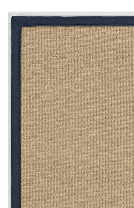"HomeRoots 0.25"" x 22"" x 34"" Wool and Latex Beige and Blue Machine Tufted Wool Rug"
