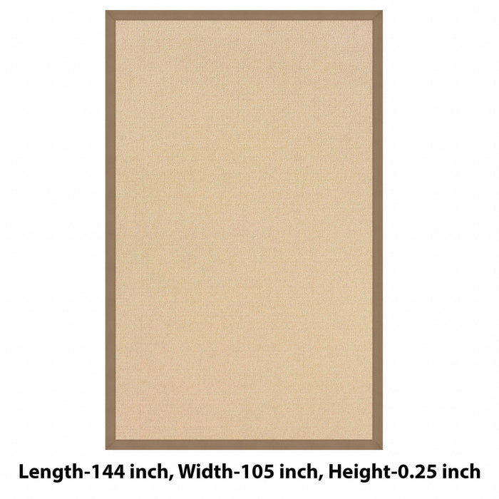 "HomeRoots 0.25"" x 105"" x 144"" Wool and Latex Brown and Beige Machine Tufted Wool Rug"
