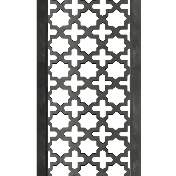 HomeRoots Rectangular Mango Wood Wall Panel with Cutout Lattice Pattern, Burnt Black