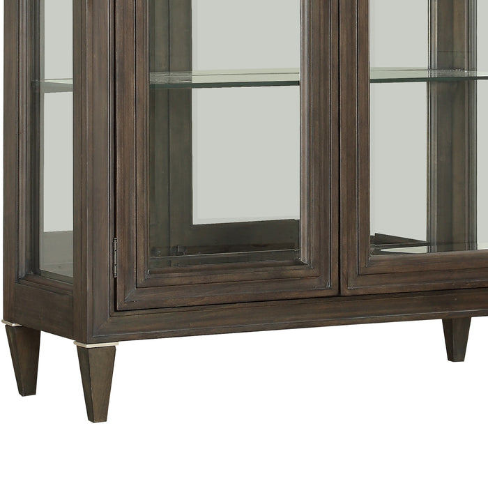 HomeRoots Wood and Glass Curio with 4 Shelves Storage, Brown and Clear