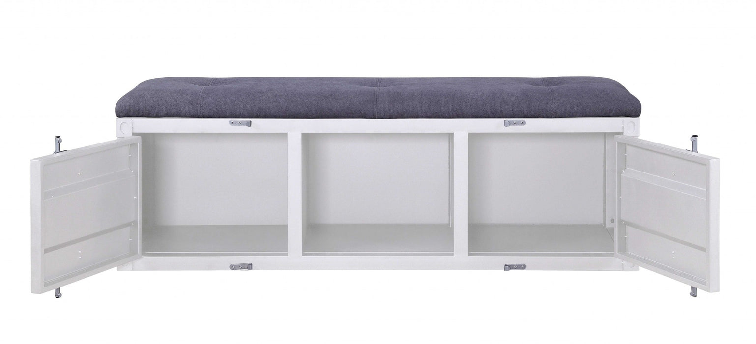 HomeRoots Metal Bench with Open Storage and Tufted Fabric Seat, White and Gray
