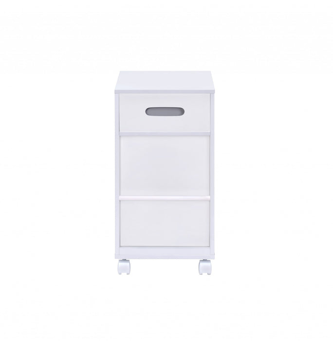 HomeRoots Wooden Storage Cart with 3 Drawers and 2 Open Shelves, White