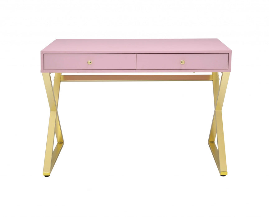 HomeRoots Wooden Rectangular Desk with Storage and X Shaped legs, Pink and Gold