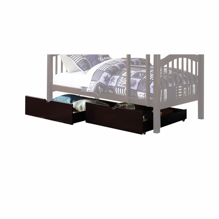 HomeRoots 2 Piece Cottage Style Under Bed Wooden Drawers with Casters, Brown