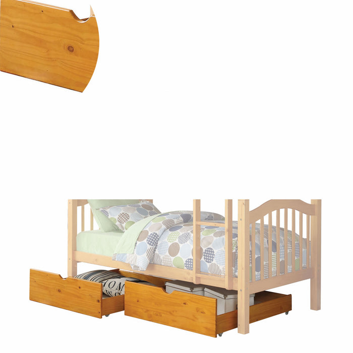 HomeRoots 2 Piece Cottage Style Under Bed Drawers with Caster Wheels, Brown