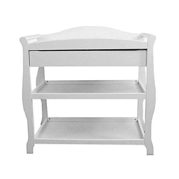 HomeRoots Wooden Changing Table with 1 Drawer and 2 Bottom Shelves, White