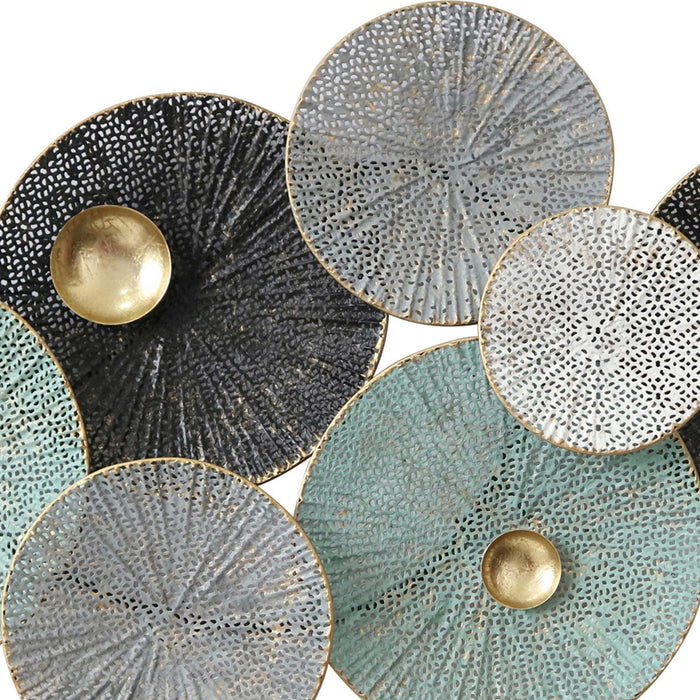 HomeRoots Round Metal Wall Decor with Perforated Ribbed Design, Multicolor