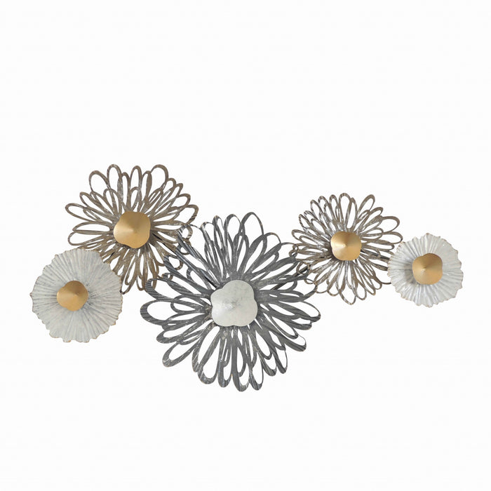 HomeRoots Metal Wall Decor with Floral Pattern, Multicolor