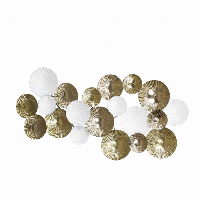 HomeRoots Metal Round Wall Decor with Irregular Designs, White and Bronze
