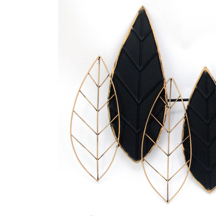 HomeRoots Decorative Metal Leaf Wall Decor with Intricate Details,Gold and Black