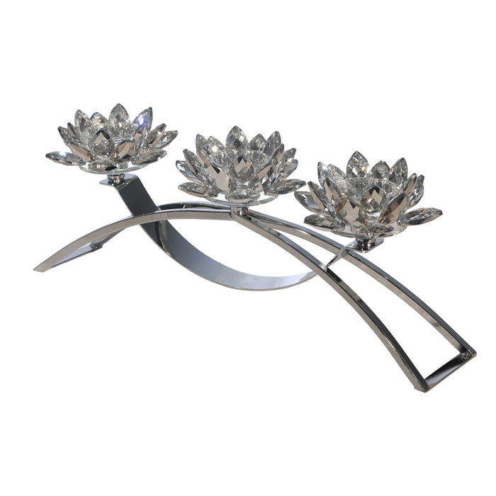HomeRoots Contemporary Lotus Shaped Glass Candle Holder with Metal Base, Silver