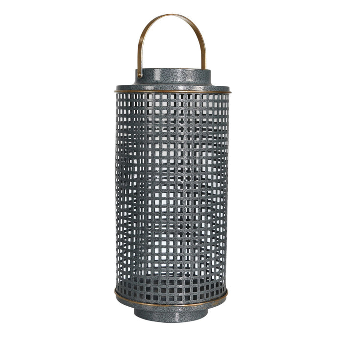 HomeRoots Metal Candle Holder with Grid Details, Large, Gray and Copper