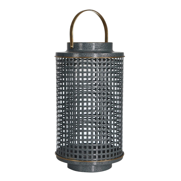 HomeRoots Metal Candle Holder with Grid Details, Small, Gray and Copper