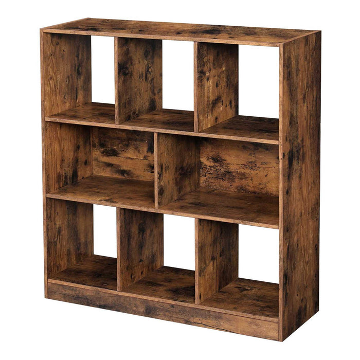 HomeRoots Wooden Bookcase with Open Cubes and Shelves, Distressed Brown