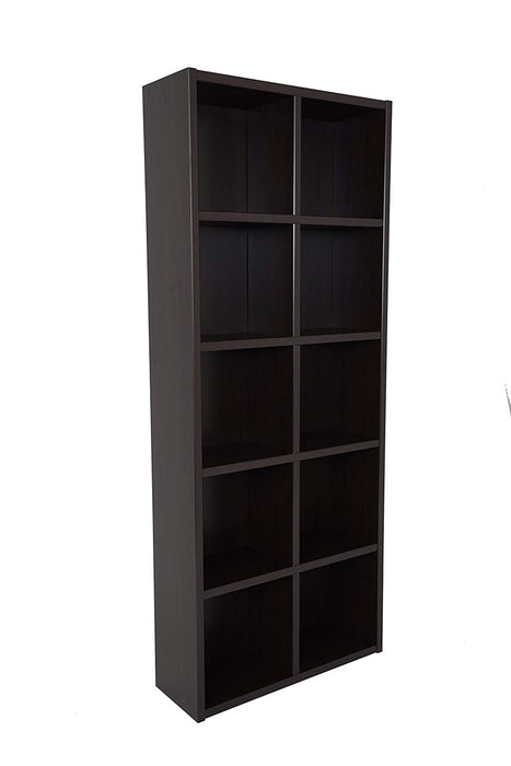 HomeRoots Transitional Style Wooden Bookcase with 10 Cubbies, Brown