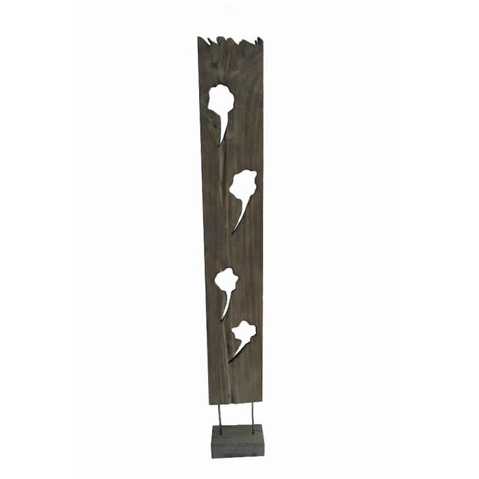 HomeRoots Contemporary Standalone Wooden Art Sculpture with Flat Log Design, Brown