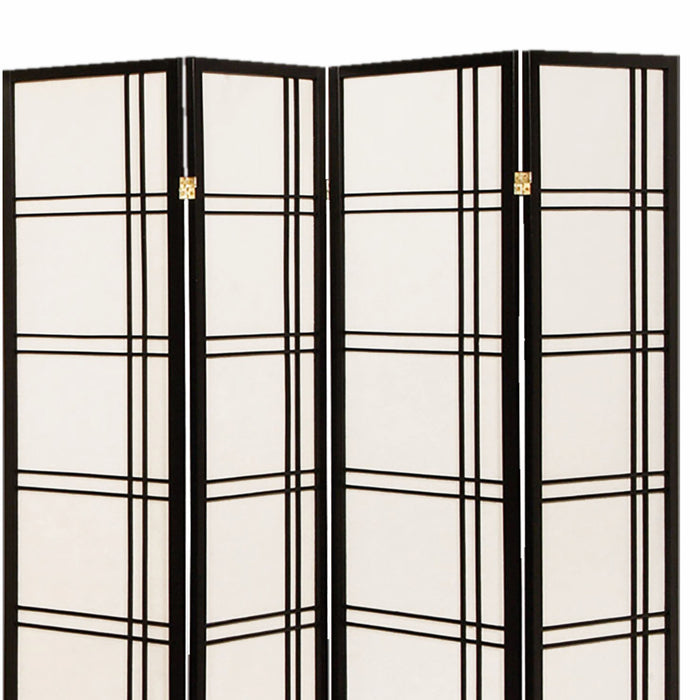 HomeRoots Wooden 4 Panel Room Divider with Checkered Shoji Inserts, White and Black