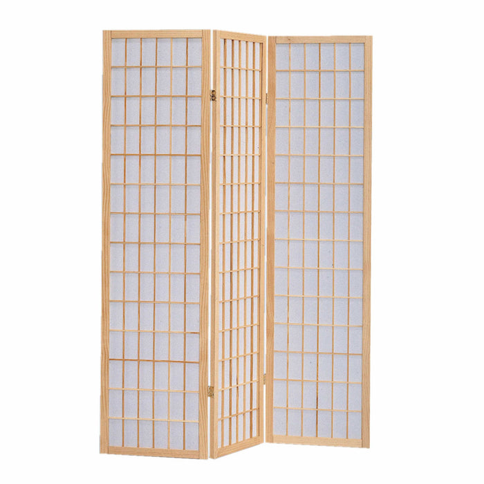 HomeRoots Wooden 3 Panel Room Divider with Shoji Paper Inserts, Brown and White