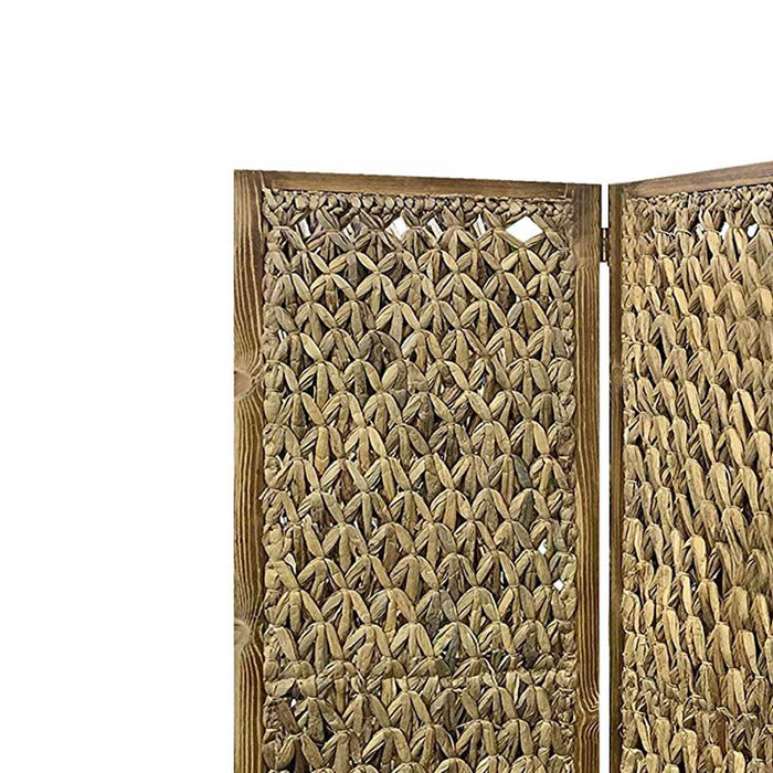 HomeRoots Woven Seagrass 3 Panel Wooden Room Divider, Natural Brown