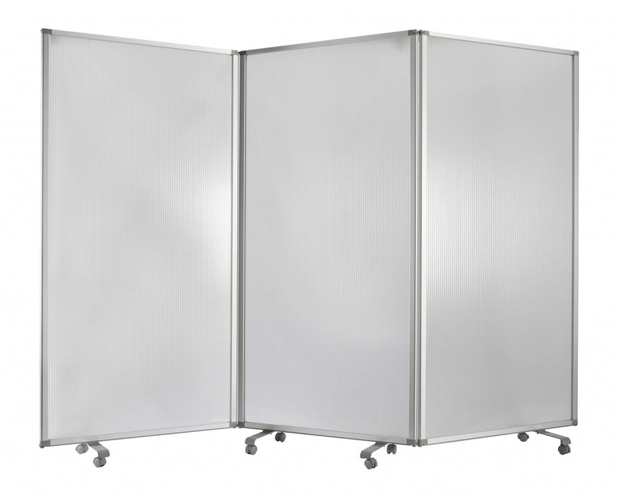 HomeRoots Accordion Style Plastic Inserts 3 Panel Room Divider with Casters, Gray
