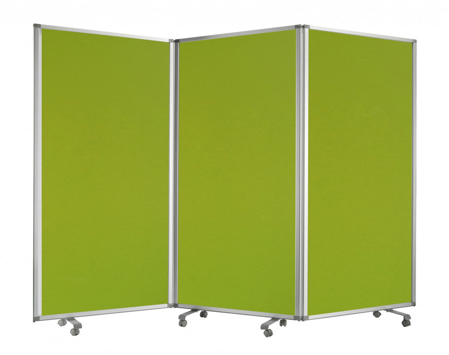 HomeRoots Accordion Style Fabric Upholstered 3 Panel Room Divider, Green and Gray