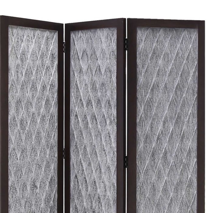 HomeRoots Wooden 3 Panel Room Divider with Textured Diamond Pattern, Gray and Black