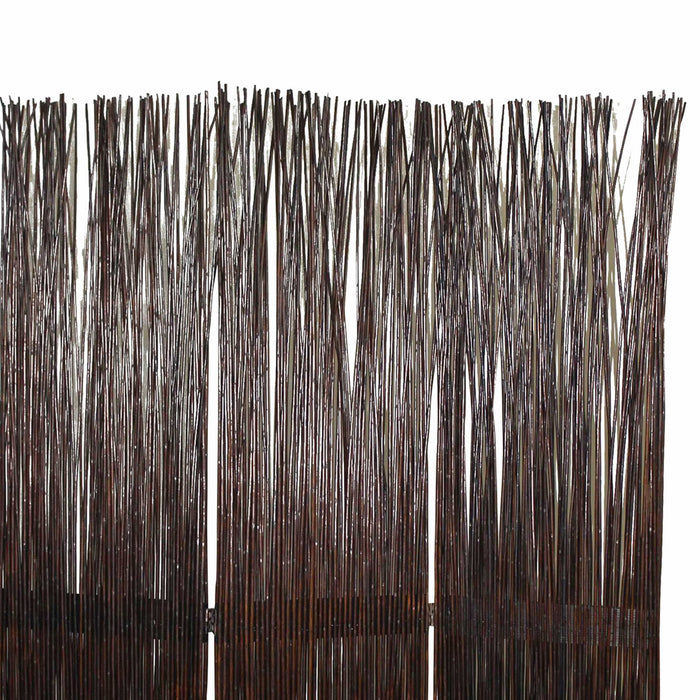 HomeRoots Traditional 3 Panel Wooden Willow Branch Room Divider, Brown