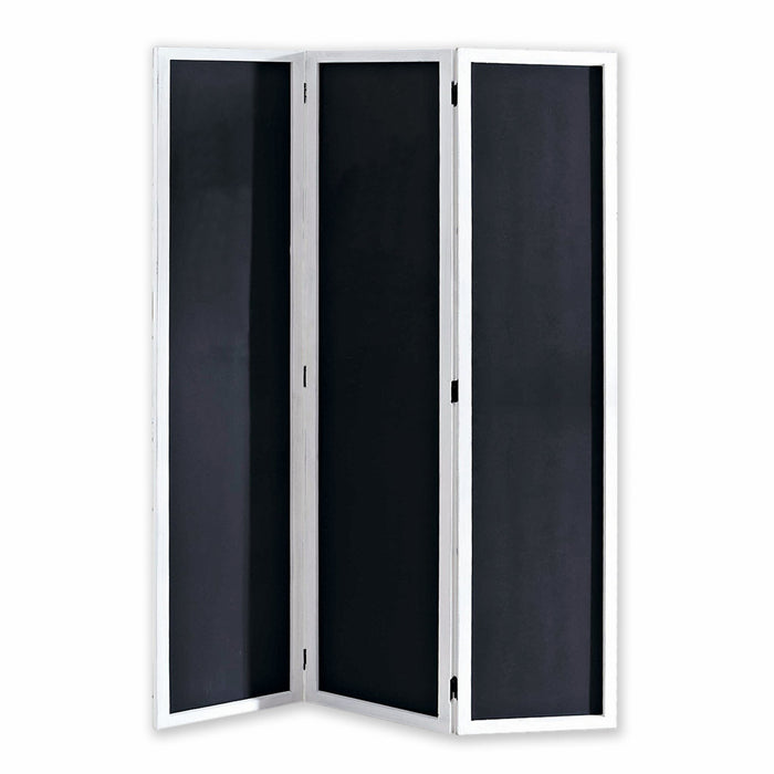 HomeRoots Chalkboard and Wooden 3 Panel Room Divider, Black and White