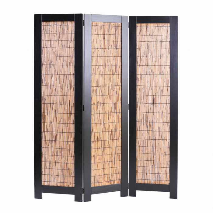 HomeRoots Wooden 3 Panel Room Divider with Wicker Panelling, Brown and Black