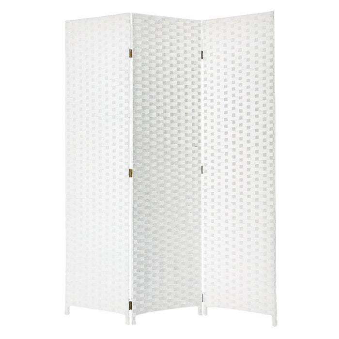 HomeRoots Wooden Foldable 3 Panel Room Divider with Streamline Design, White