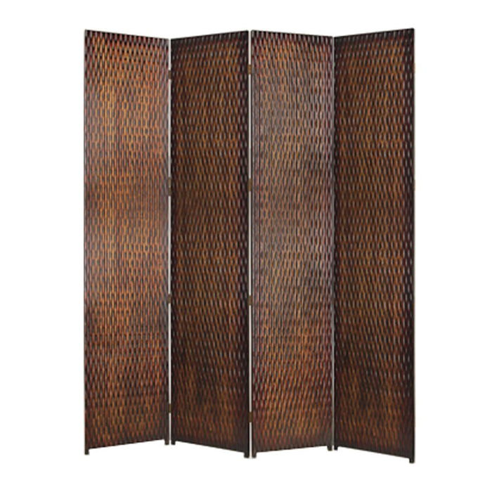 HomeRoots 4 Panel Foldable Room Divider with Patterned Wood Panelling, Brown