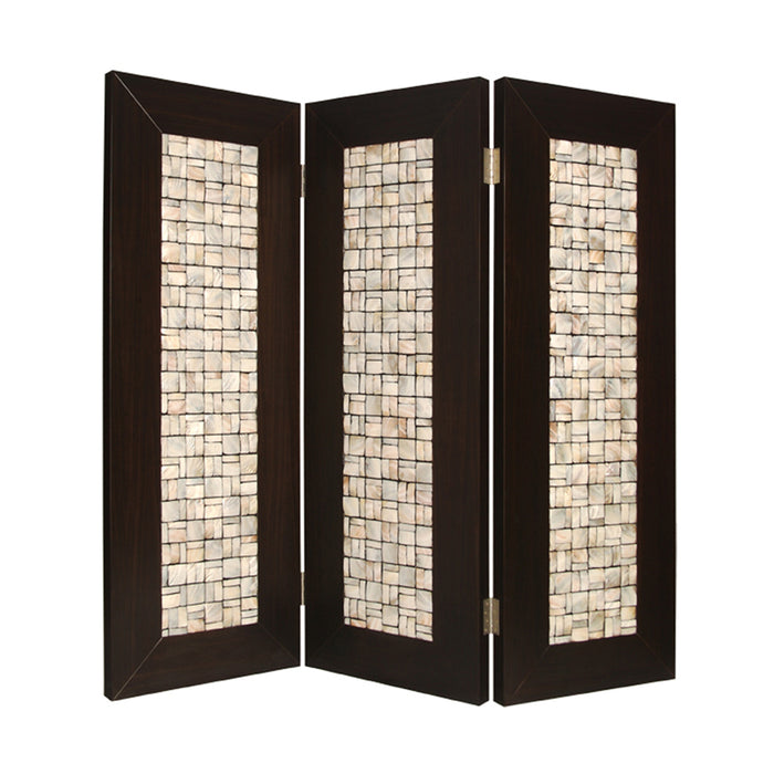 HomeRoots 3 Panel Room Divider with Pearl Shell Inlay, Brown and Beige