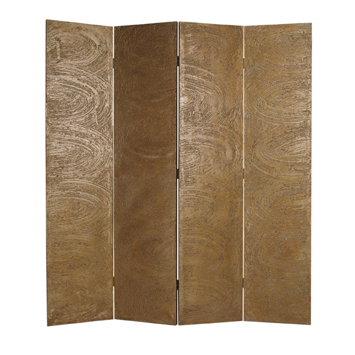 HomeRoots Foldable 4 Panel Canvas Room Divider with Swirl Details, Gold