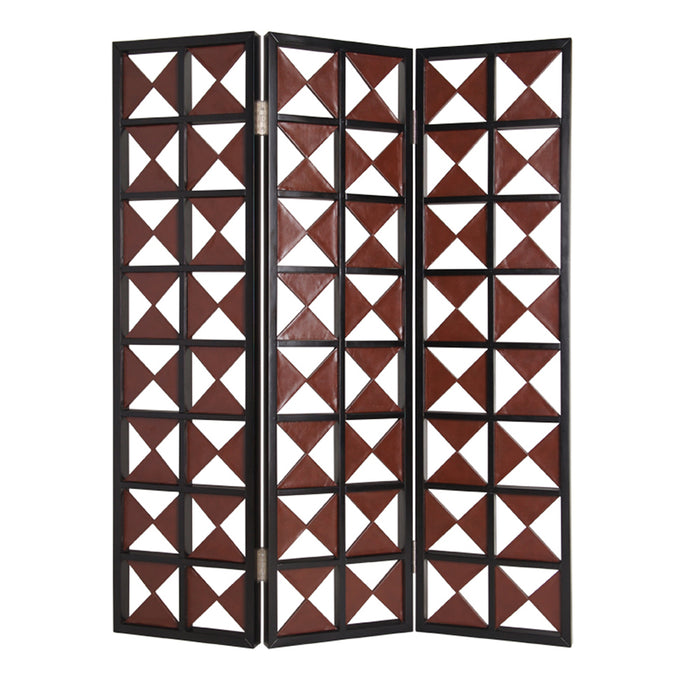 HomeRoots 3 Panel Room Divider with Symmetric Triangle Cutout Pattern, Small,Brown