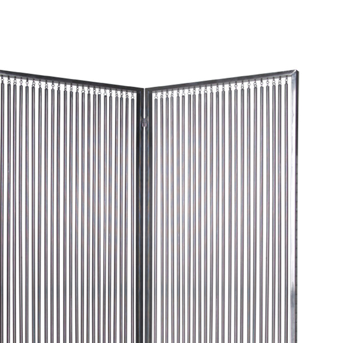 HomeRoots 2 Panel Foldable Room Divider with Vertical Metal Design, Small, Silver