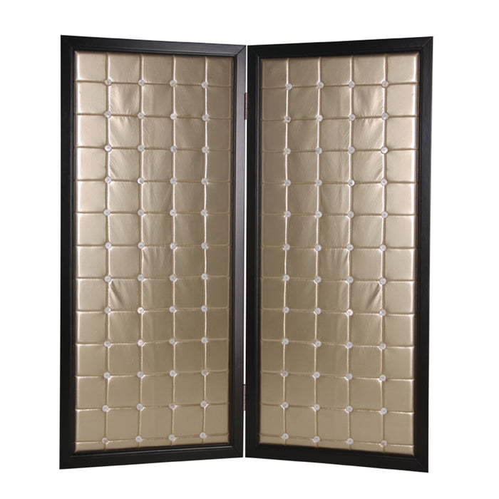HomeRoots Fabric Upholstered Room Divider with Modish Design, Small, Gold and Black