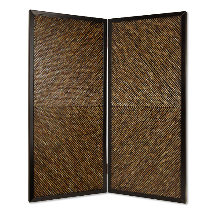 HomeRoots Wooden 2 Panel Room Divider with Abalone Inlay, Small, Brown and Black