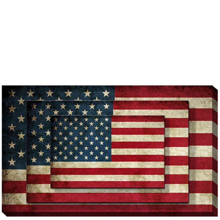 HomeRoots Rectangle 3 Tier Stacked Wall Art with US Flag Print, Set of 2, Multicolor