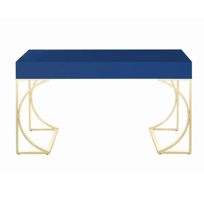 HomeRoots Writing Desk with Metal Legs and 2 Storage Drawers, Blue and Bronze