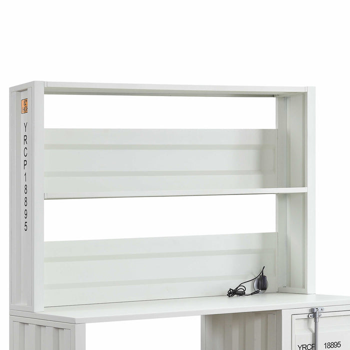 HomeRoots Metal Base Desk and Hutch with Slated Pattern and Storage Compartment, White
