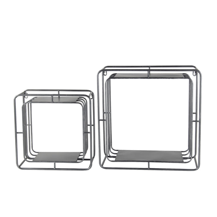 HomeRoots Square Metal Wall Cubes with Open Shelf, Set of 2, Silver