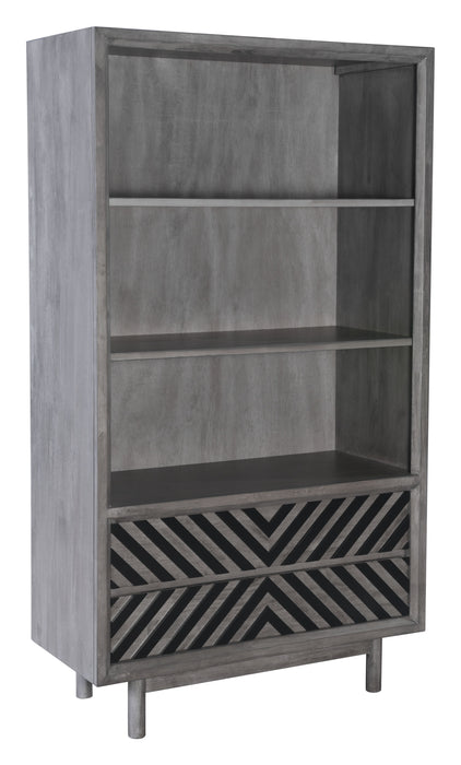 "HomeRoots Office 35.4"" x 15.7"" x 63"" Gray, Rubber Wood Veneer, MDF, Wide Tall Shelf"